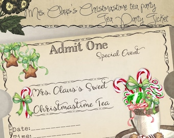 Printable Holiday Tea Party Ticket Invitation Mrs. Claus's Sweet Christmastime Tea Party Instant Digital Download