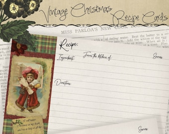 4x6 Holiday Printable Vintage Christmas Recipe Card Set Gifts for Cooks, Kitchen Printables Instant Download Digital Cooking DIY Project Kit