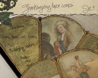 Printable Thanksgiving Victorian Favor Cone Kit Set 4 Cornucopia Candy Cone DIY Party Decor  Instant Download Digital DIY Kit