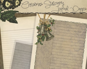 Printable Christmas Stationery Digital iPad Pages - Holiday Planner-Journal-Scrapbook  jpg pdf 8.5 x 11 Instant Download
