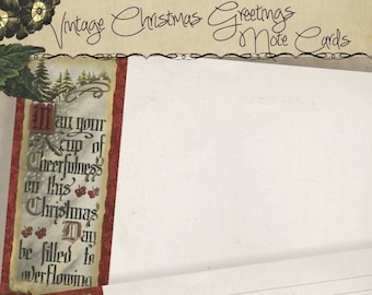 4x6 Holiday Printable Vintage Christmas Greetings Note Card Gift Tag  Set journal cards Instant Download Digital DIY Project Kit