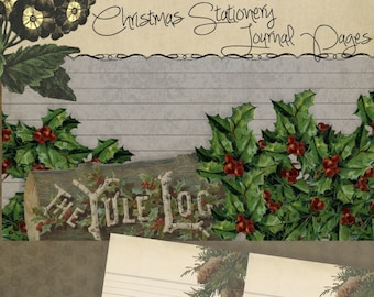 Printable Christmas Stationery Digital iPad Pages - Holiday Planner-Journal-Scrapbook  jpg pdf 8.5 x 5.5 Instant Download