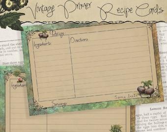 4x6 Printable Recipe Cards, Vintage Primer, Gifts for Cooks, Kitchen Printables - Instant Download Digital Cooking Printable Project Kit