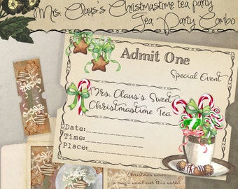 Printable Holiday Tea Party Combo Set Tea Bag Envelope and Ticket Invitation Mrs. Claus's Sweet Christmastime Tea Party Instant Download