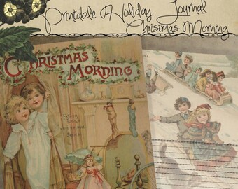 Printable Holiday Christmas Morning Storybook Journal Stationery Digital Download Printable Paper Pages 8.5x5.5 Half Page Size Double Sided