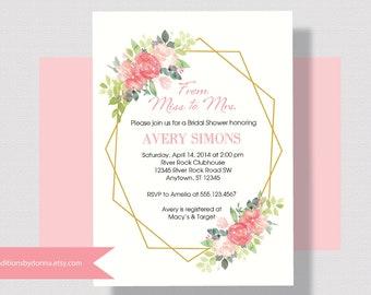 BRIDAL SHOWER INVITATION Blush Pink, Coral, Gold, Geometric Bridal Shower Invitation Watercolor Floral, Shabby Chic Bridal Shower Invitation