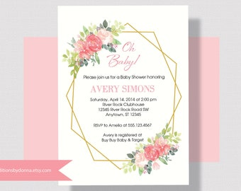 BABY SHOWER INVITATION, Blush Pink, Coral, Gold Baby Shower Invitation, Geometric Gold Floral Baby Shower Coral, Shabby Chic Baby Shower