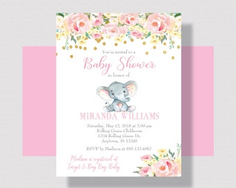 GIRL BABY SHOWER Invitation with Elephant, Blush Pink Girl Baby Shower Invitation, Elephant Baby Shower for Girl, Watercolor Floral for Girl