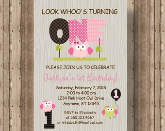 Owl first birthday invitation for boys blue owl 1st birthday etsy owl first birthday invitation for girls pink owl 1st birthday invitation cute wood owl printable invitation woodland girl invitation filmwisefo
