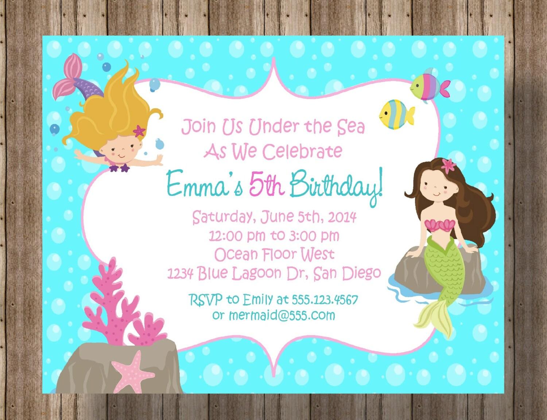 Mermaid Party Invitation / Printable Digital File/ Girls | Etsy