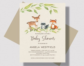 WOODLAND BABY SHOWER Invitation, Gender Neutral Woodland Animals Baby Shower Invitation, Forest Animal Baby Shower Invitation, Deer Fox Baby
