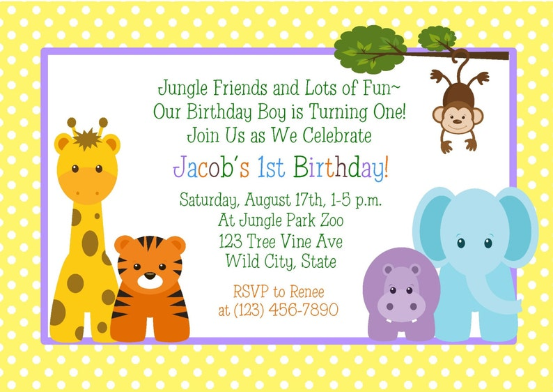 JUNGLE ANIMALS 1st Birthday Invitation Printable Digital