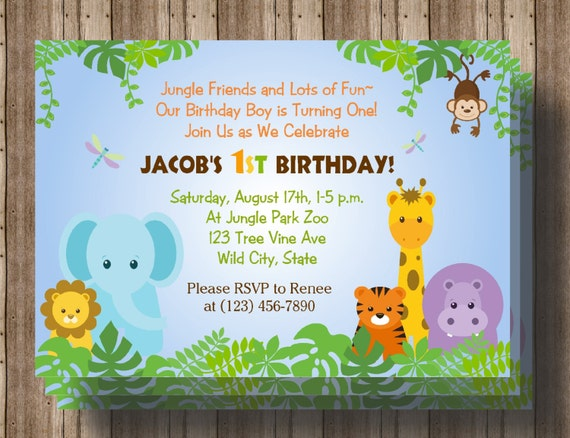 JUNGLE ANIMALS 1st Birthday Invitation Baby Shower