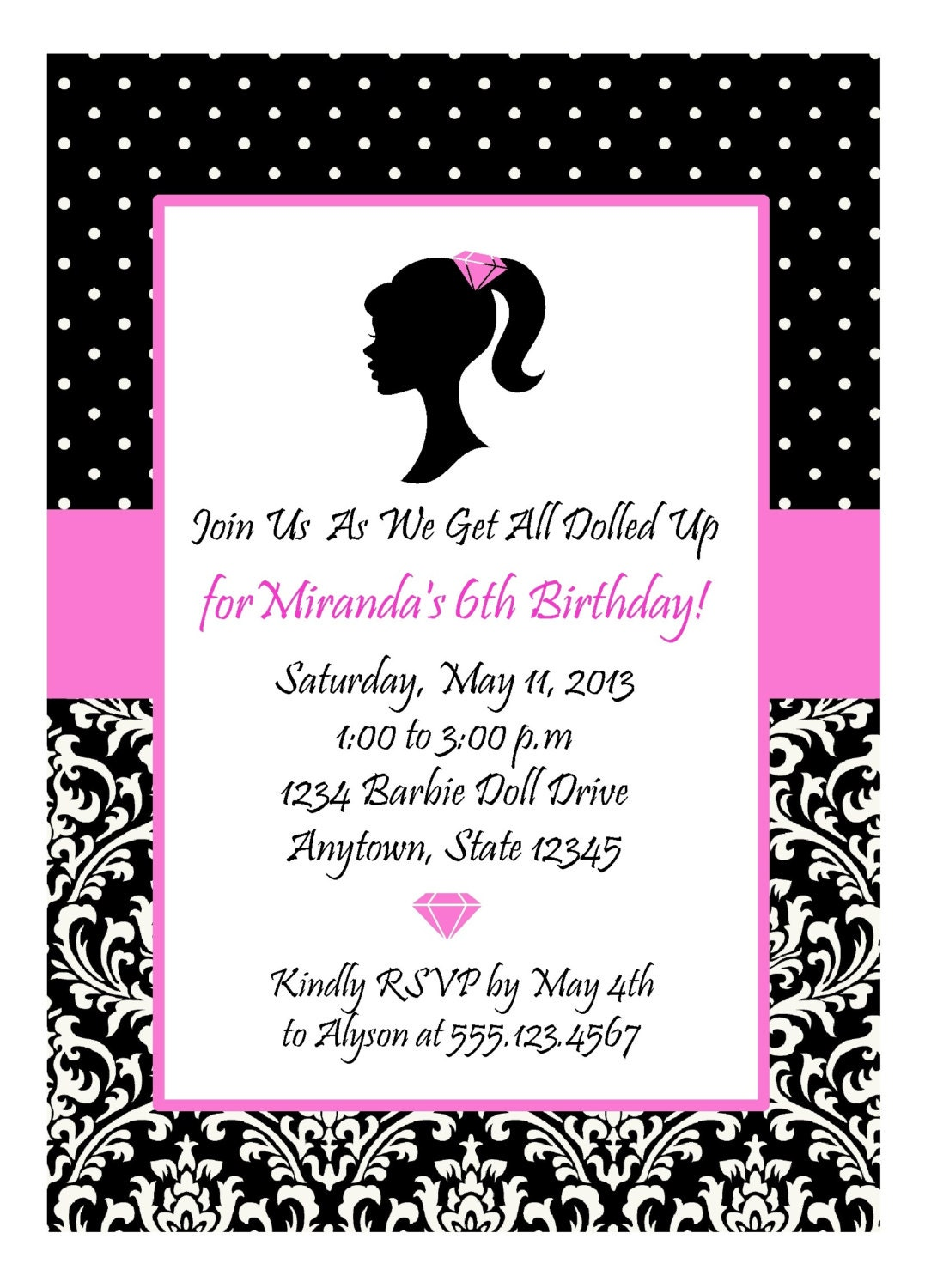 GLAMOUR GIRL DIVA Party Hot Pink and Black Invitation / | Etsy