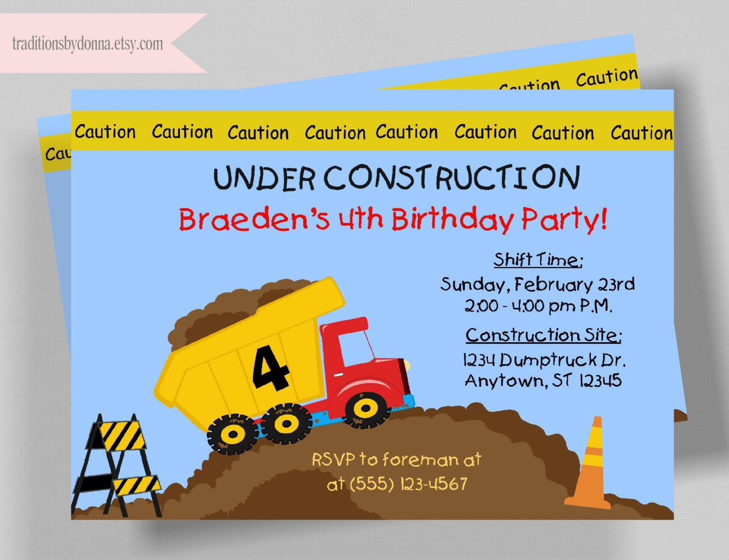 ef2e0cd7d4b CONSTRUCTION INVITATION  Printable DIY Invitation Dump Truck