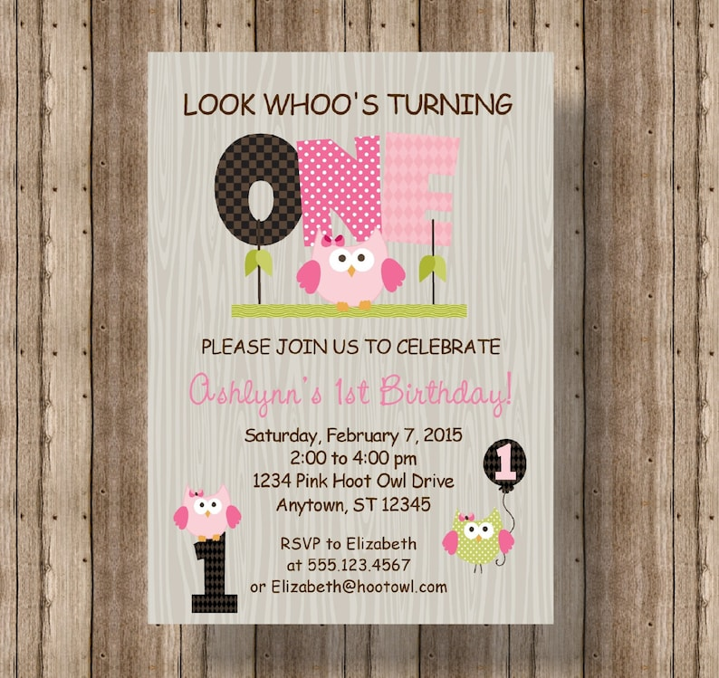 OWL FIRST BIRTHDAY Invitation For Girls Pink Owl 1st Birthday Cute Wood Printable Woodland Girl
