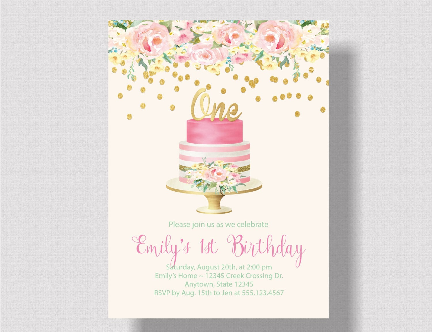 GIRLS FIRST BIRTHDAY Invitation Pink and Gold Glitter | Etsy