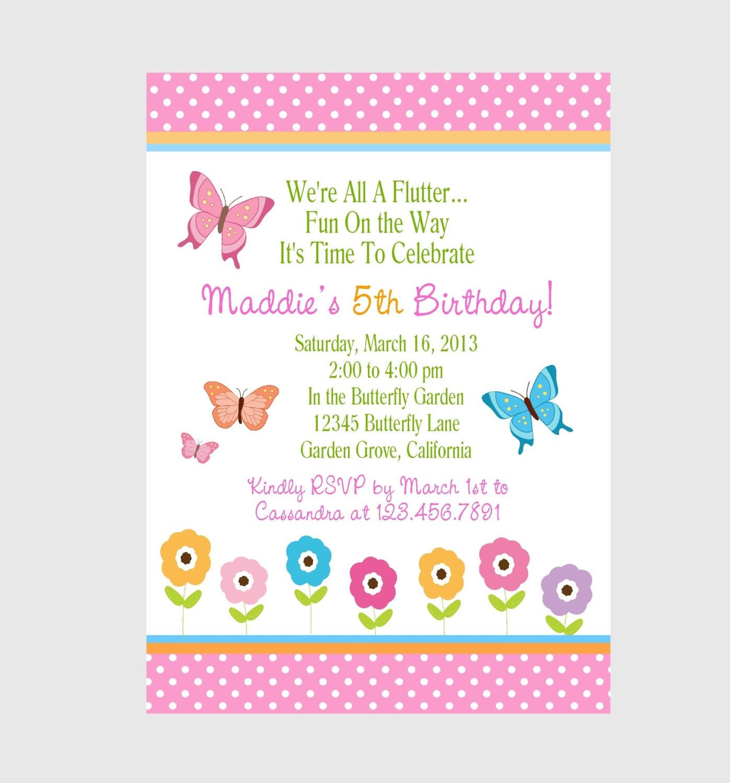 Invitación De La Mariposa Niñas Cumpleaños Fiesta Etsy