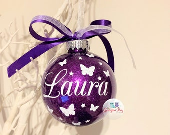 Personalized Butterfly Christmas Ornament by KimArt Designs Baby/'s First Christmas Ornament