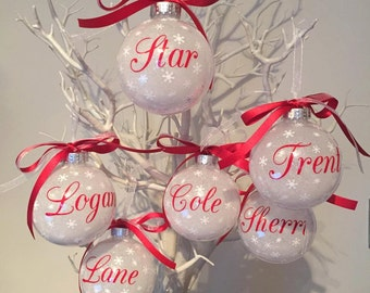 6 x Personalised Christmas Baubles