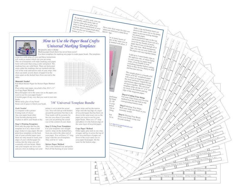 7/8 Universal Paper Bead Sheet Marking Templates to make image 0