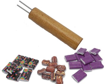 "Double Hole Paper Bead Roller, 1/16"" double winding pins, Golden Oak Color Birch Handle"