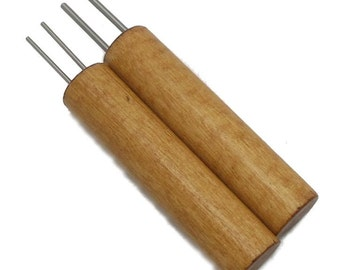 "Double Hole Paper Bead Roller, Set of 2, 1/16"" and 3/32"" double winding pins, Golden Oak Color Birch Handle"