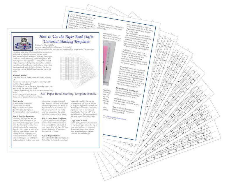 5/8 Universal Paper Bead Sheet Marking Templates to make image 0
