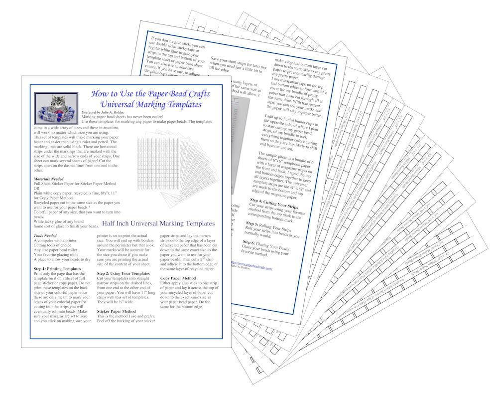 Universal Paper Bead Sheet Marking Templates To Make 1 2