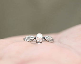 Skull ring. Sterling silver winged skull. Winged skull, Skull band, silver skull, Skeleton, gothic style, Stacking ring, punk ring.