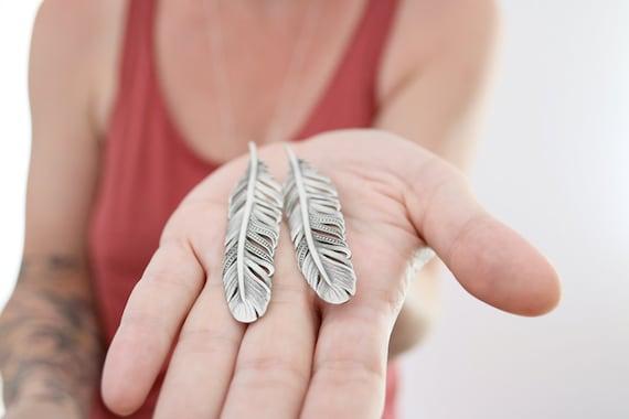 7f150caab Feather earrings. Sterling silver feather earrings. Silver | Etsy