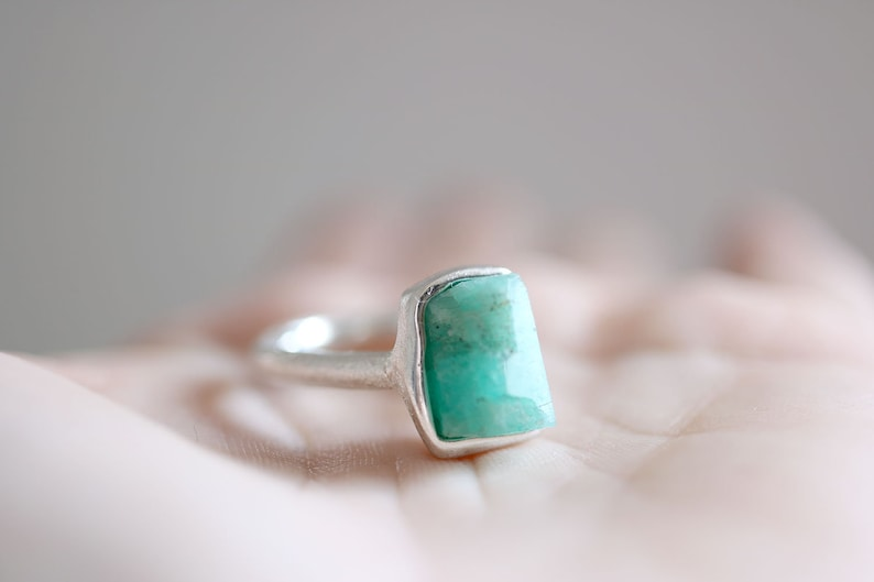 raw Emerald ring Emerald crystal ring. Rough Emerald Emerald ring hexagonal emerald Sterling silver ring with natural Emerald crystal