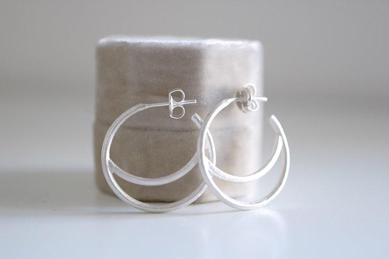 1c4123fd8 Lluna small earrings. Sterling silver Moon hoop earrings. Hoop | Etsy
