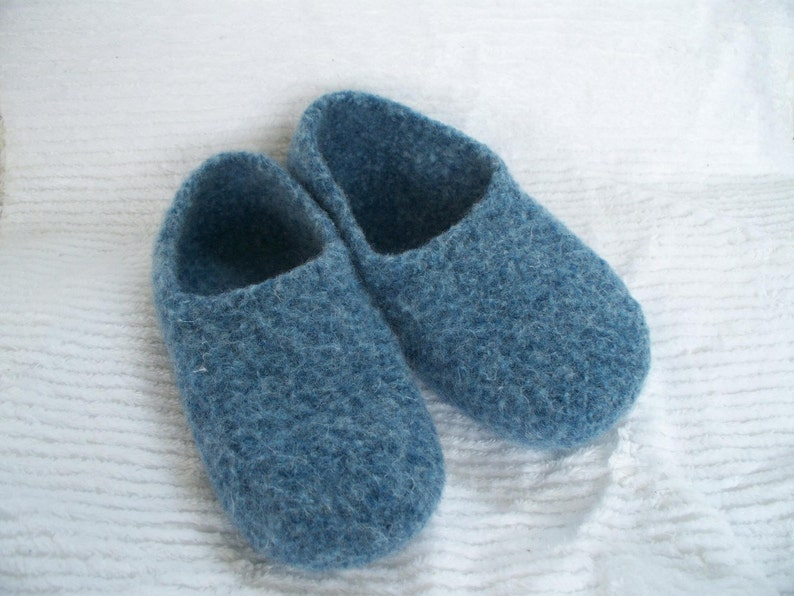 e9ba9263b5296 Felted Blue Wool Slippers Made to order in your size slippers wool shoes  custom felted wool womens wool slippers house shoes wool felted