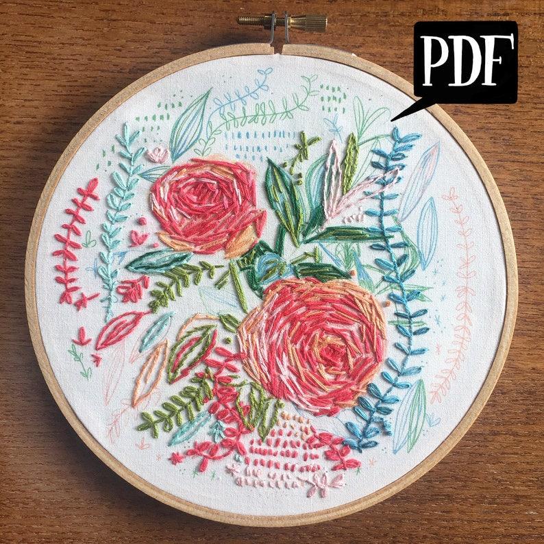 Hand Embroidery Pattern: 01 Garden Rose PatternSketchbook ...