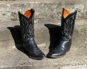 RESERVED for planting4 Black Friday Sale Vintage Exotic Skin HandCrafted Angel Wing Cowboy Boots 9 and a half D