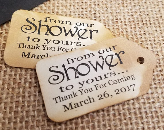 """From OUR Shower to Yours Choose your quantity SMALL 2"""" Favor Tag"""