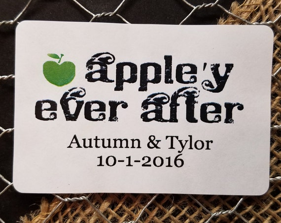 "Appley Ever After 2"" x 3""  STICKER Personalized Wedding Shower Favor STICKER choose your amount Happily Ever After Apple'y"