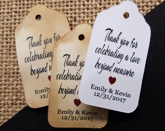 "Thank you for Celebrating a Love Beyond Measure SMALL 2"" Favor Tag Choose your quantity"