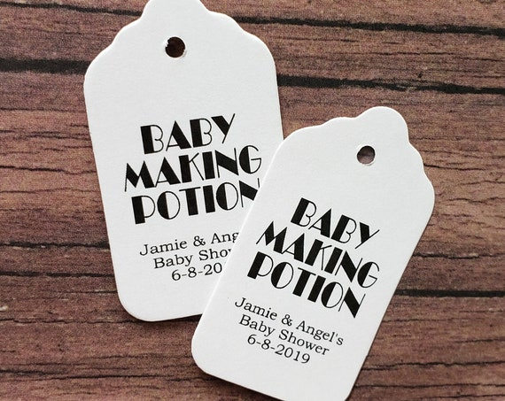 "Baby Making Potion (my SMALL) 1 1/8"" x 2"" Favor Tag"