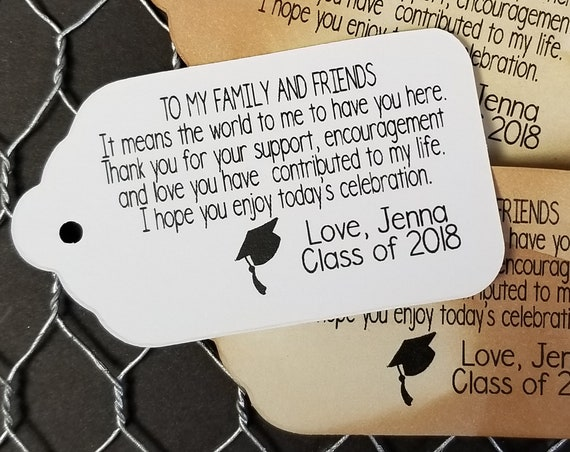 "To My Family and Friends (my MEDIUM tag) 1 3/8"" x 2 1/2"" Personalized Graduation class of Favor Tag CHOOSE your amount"