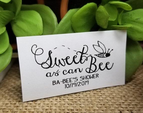 "Sweet as Can Bee Sticker Favor 1.25"" x 2.25""  rectangle STICKER for wedding, shower, keepsake souvenir party favor table decoration"