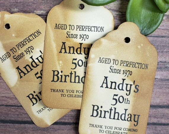 "Aged to Perfection Happy Birthday (my MEDIUM tag)  1 3/8"" x 2 1/2"" Tags Personanlized keepsake souvenir party favor 50th 60th 1970"