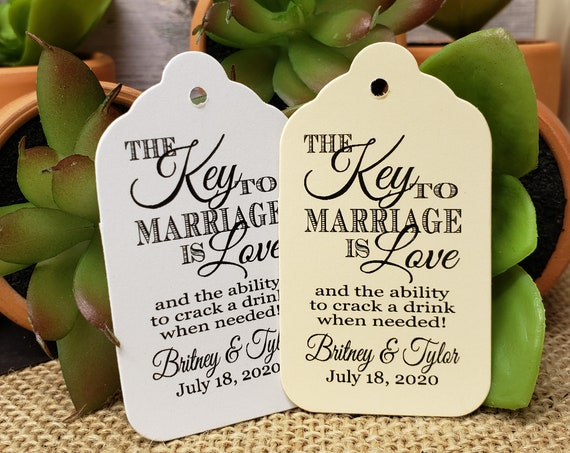 """Key to Happy Marriage is Love keepsake favor tag (my MEDIUM Tag) 1 3/8"""" x 2 1/2"""" Personalize with names and date Choose your Quantity MEDIUM"""