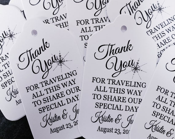 "Thank You for Traveling all This Way to Share our Special Day (my MEDIUM tag) 1 3/8"" x 2 1/2"" Personalized Wedding Favor Tag"