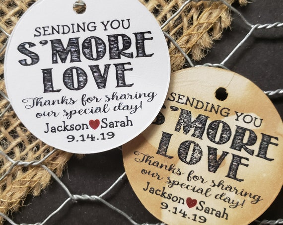 Sending you Smore Love Thanks for sharing our special day Personalized Party Wedding Shower Favor 1.5inch ROUND tag