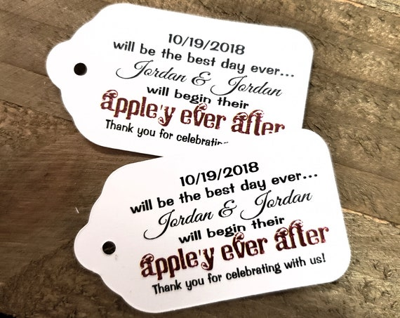 Best Day Ever Appley Ever After MEDIUM Favor Tag Choose your quantity Happily ever after