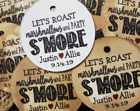 Lets Roast Marshmallows and Party Smore Personalized Party Wedding Shower Favor 1.5inch ROUND tag