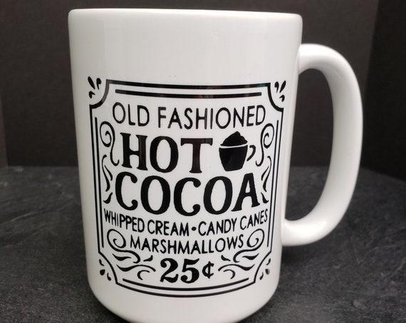 Old Fashioned Hot Cocoa 15oz Mug, coffee mug, coffee cup, tea, Holiday Coffee Mug, Santa,