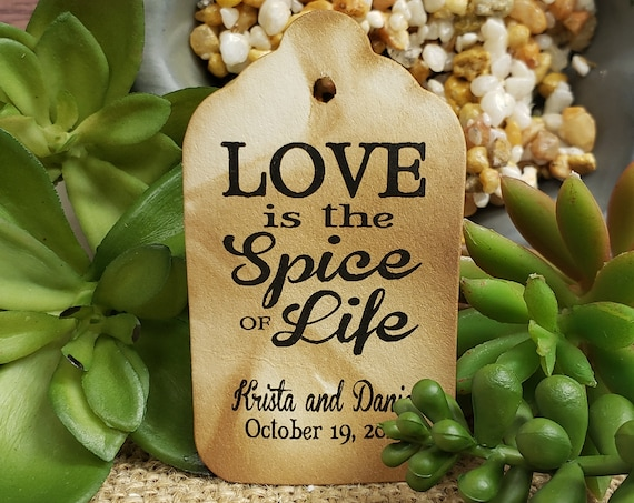 "Love is the Spice of Life (my MEDIUM tag) 1 3/8"" x 2 1/2"" Personalized keepsake souvenir Favor Tags Thank you Favor"